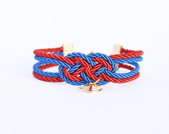 Royal blue and red double infinity knot nautical rope bracelet with gold anchor charm