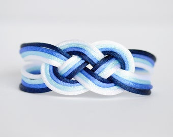 Ombre blue double infinity knotted nautical rope bracelet