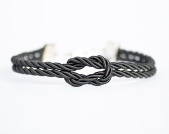 Black forever knot nautical rope bracelet with silver or gold anchor charm