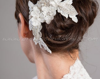 Wedding Lace Hair Clip, Bridal Ivory Lace Hair Piece, Birdcage Fascinator - Lola
