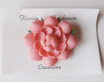Vintage blush pink rose seashell pin or brooch flower sea shell art on original card new in box