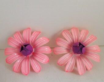 Vintage mod 1960s enamel flower earrings pink and purple daisy blossoms statement