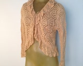 Tie Front Cardigan Sweater Gold Beige Open Weave Frilly Ruffle Romantic See Through Sweater Cream Natural Cotton Ramie M 90210 90s sweater