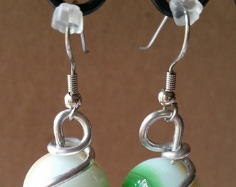 Vintage Glass Marble Wire Wrapped Earrings