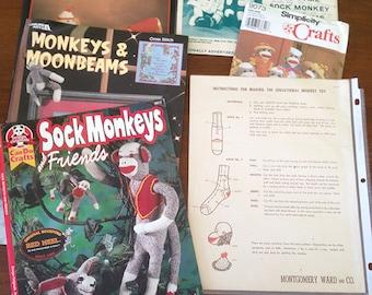 Vintage sock monkey patterns large lot Rockford red heel sock toys