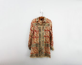 vintage 70s India Gauze Paisley Floral Print Mini Dress Tunic Top //Shirt Dress // S M