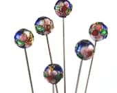 Cloisonne straight Pins - Set of 6 x-tra long
