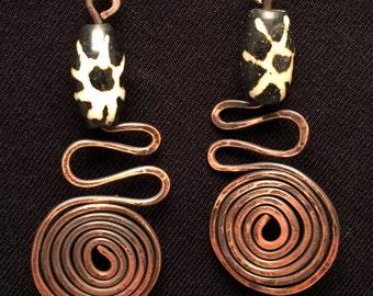 Hammered Copper Swirl Drop Earrings