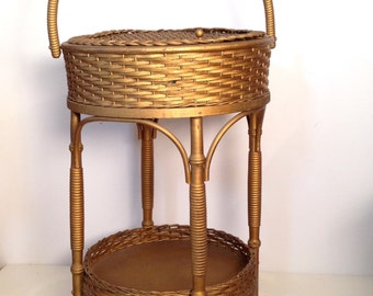 vintage sewing basket - large gold wicker storage basket on stand