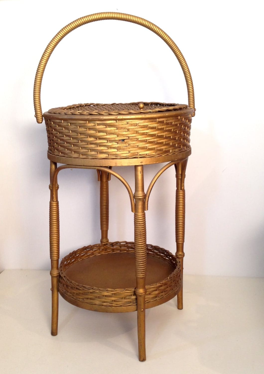 Vintage Wicker Sewing Basket 44