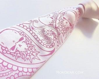 Paisley skull tie, men's necktie, custom color available print to order.