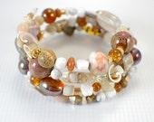 Golden amber memory wire bracelet earthtones wide cuff large size bracelet neutral tan brown gold shell gemstone crystal pink porcelain