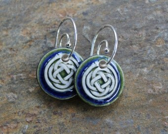 Deep Blue Celtic Knot Earrings