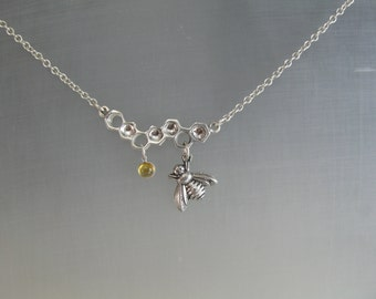Honey Comb bar Pendant with Sterling Bee and 5mm Citrine Dangle for Mother's Day