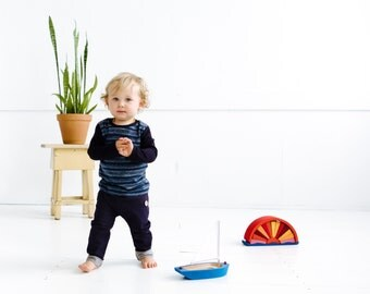 Blue merino kids top