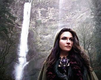 Magic Priestess Waterfalls Nature Art Photography Pagan Enchanted Forest Multnomah Falls Oregon Greeting Card MYSTIC VEIL by Spinning Castle