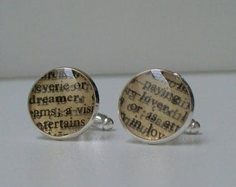 Guy Gift - Dreamer Lover - Cuff Links - Upcycled Vintage Dictionary Cufflinks on Silver Plated Cuff Links