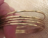 14K solid gold handmade ONE bracelet stacking faceted hammered