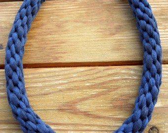 Navy Blue Cotton Necklace, Kumihimo Necklace, Navy Blue Jewelry, Blue Statement Necklace, Cotton Choker, Woman Anniversary Gift, Blue Woven.