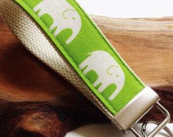 Wrist Key Chain , Key Fob Wristlet Keychain, key ring, Fabric Key Holder in Green Elephants