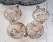 Cashmere Swirl  Set of Lampwork Glass Art Beads Cream Tan Peach Lentil Button Summer Beads - sra