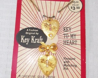 40s 50s Vintage Heart with Key Necklace and Brooch NOS Unused by Key Kraft