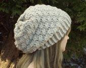 Oatmeal Crochet Hat, Womens Slouchy Beanie, Oversized Slouch Beanie, Beige Chunky Hat, Slouchy Hat, Winter Hat, Slouch Hat