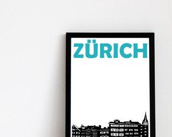 Zurich Print // Switzerland Art // Zurich Art // Zurich Poster // Switzerland Print // Swiss Art // Swiss Poster // Swiss Print