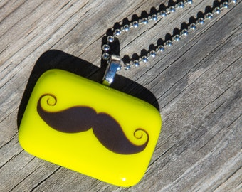 Fused Glass Pendant - Mustache - lemongrass