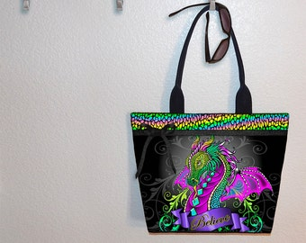 Dragon tote bag, Myka Jelina, book tote, large purse, canvas tote, shoulder bag