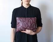 Leaf Pattern Leather Zipper Clutch - Burgundy - Hand Painted