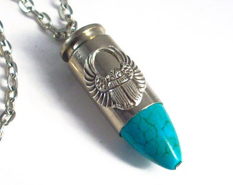 Commander's Bullet - Turquoise and Silver Steampunk Necklace - Handmade Jewelry Jewellery