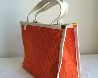 1960s Mod Orange Burlap Tote Handbag with Vinyl Handles and Brass Findings NOS with Original Tag