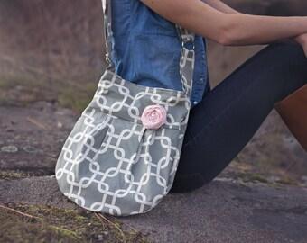 Crossbody Handbag, Grey Bag Geometric and Nautical, Fashion Bag, Hipster Bag, Nautical Grey Fashion Purse, Fashion Bag, Hipster Purse