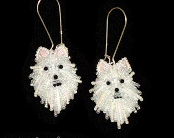 Beaded POMERANIAN keepsake bead embroidery dog earrings- Gift for Her (Made to Order)