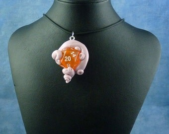 Lavender and Peach Sanity Check Necklace - Tentacle Wrapped D20 Pendant