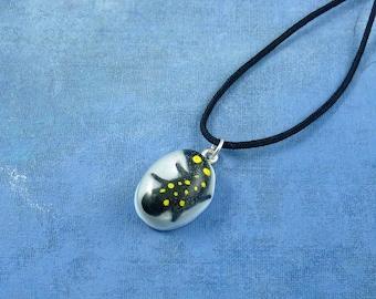 Encapsulated Spotted Salamander Specimen Necklace, Handmade Biology Jewelry