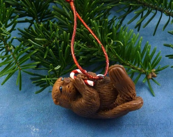 Xmas Sea Otter and Candy Cane Ornament , Handmade Christmas Decoration