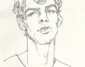 """Original Sketch - 11"""" x 14"""" Curly-Haired Boy"""