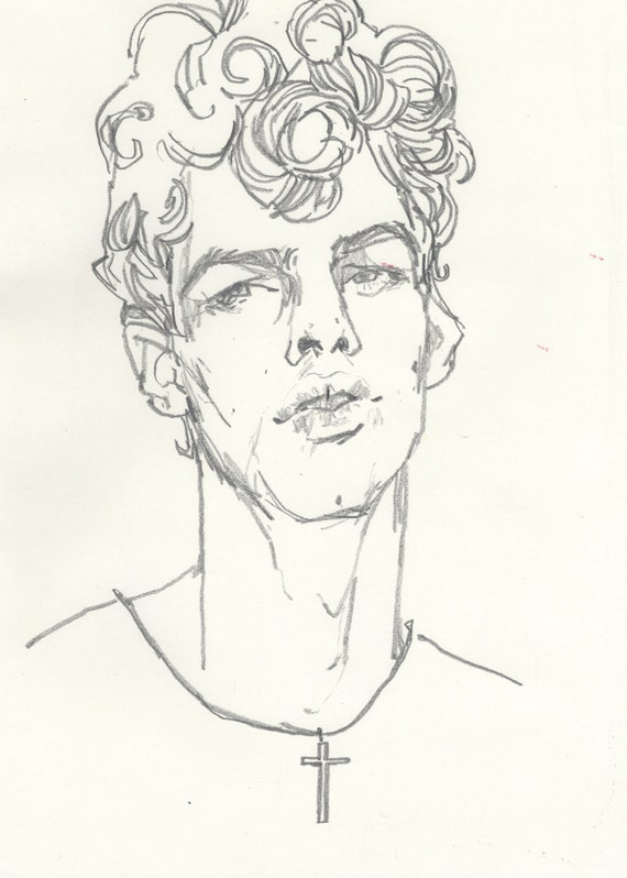 original sketch 11 x 14 curlyhaired boy by likeomfgitsjonny