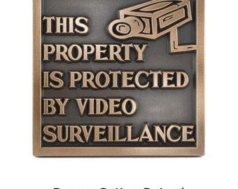 """Under Video Surveillance Sign, Security Plaque, 10"""" Square Made in USA"""
