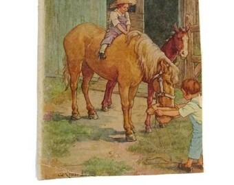 Clara Burd book plate - 10 x 8.5  - Thick paper - Feeding the horse - Farmyard - Rustic - Primitive- Victorian era