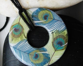 Lovely Peacock Feather Upcycled Papers Hardware WASHER Pendant Necklace