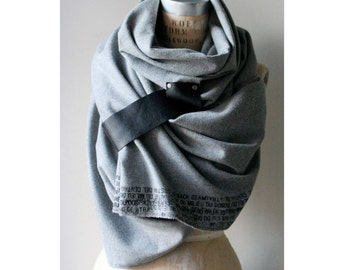 011 gray wool flannel leather text scarf