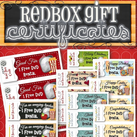 Redbox Gift Holiday Certificates Instant Download
