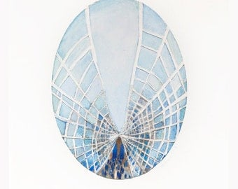 Brooklyn Bridge. Caught in a web -  print of  my oval collage, painting. New York City, Manhattan,Wall Art, Ready to hang