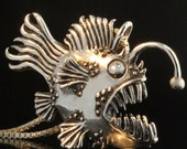 Fish Necklace Large Angler Fish Necklace Fish Pendant Angler Fish Pendant Fish Silver Jewelry Scary Fish Lantern Fish Monster of the Deep