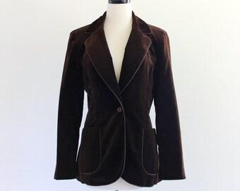70s Patty Woodward Brown Velvet Velour Boho Hipster Blazer Jacket Coat . SM . GT . 956.1.27.15