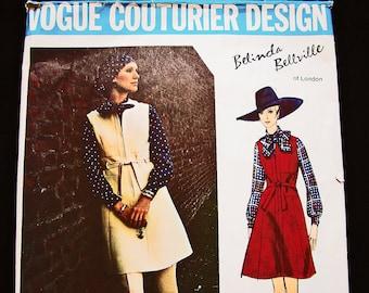 1960s Dress Pattern Vogue Couturier Pattern Designer Belinda Bellville Womens Jumper Dress Pattern size 10 Vintage Patterns