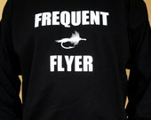 Long Sleeve Fly Fishing T Shirt - Frequent Flyer - Black with White Ink